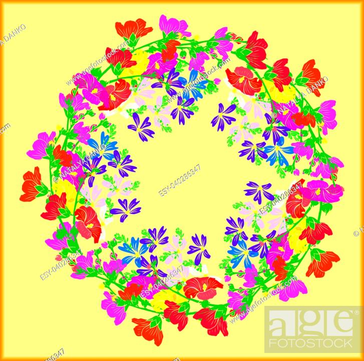 Stock Vector: wreath of flowering branches with pink, red and yellow buds of mallow and blue small flowers on a yellow background, empty space.