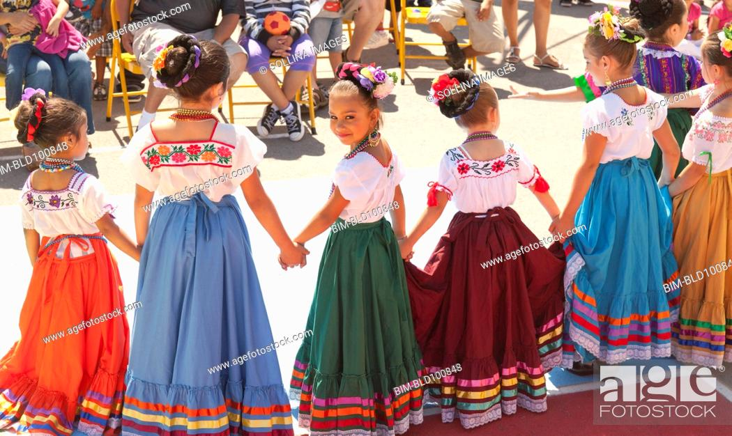af22a2793 Hispanic girls dancing in costumes, Stock Photo, Picture And Royalty ...