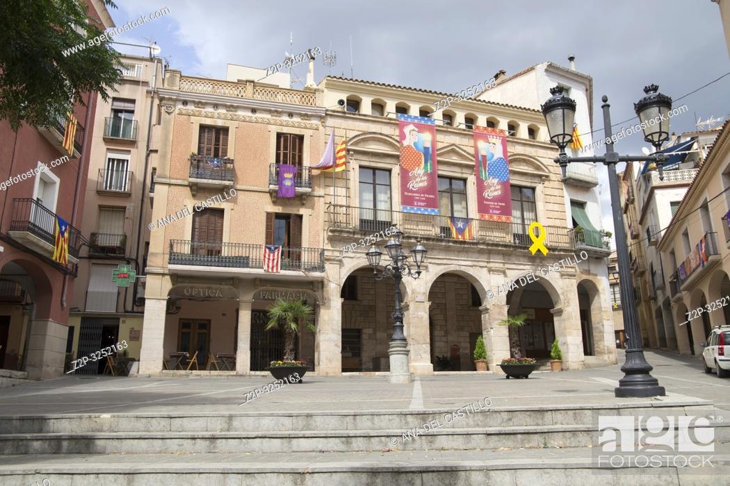 Stock Photo: Village of Falset, El Priorat, Tarragona province, Catalonia, Spain on September 12, 2018 The city hall.