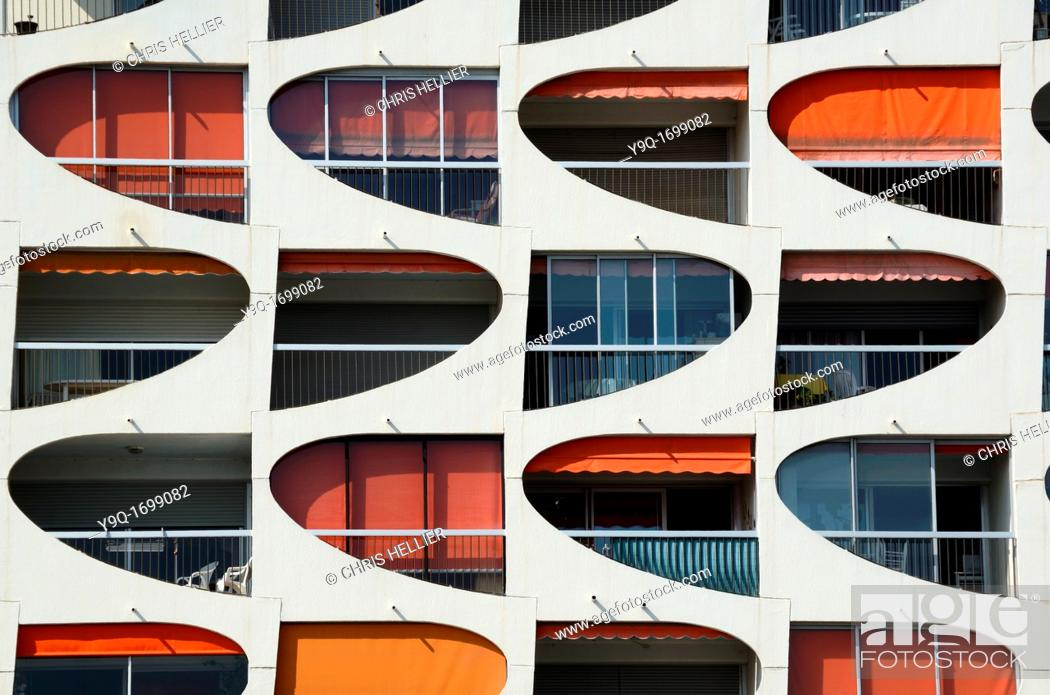 Stock Photo: Window Patterns of Holiday Flats at La Grande-Motte Holiday Resort Hérault France.