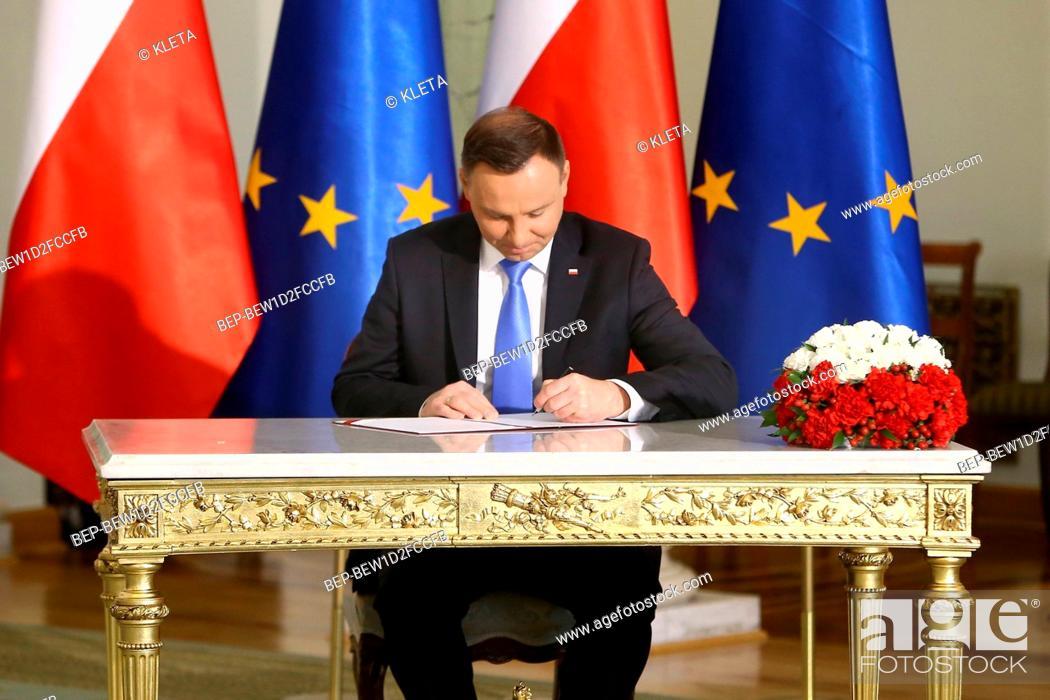 Stock Photo: April 27, 2018. Warsaw, Poland. Pictured: President of Poland Andrzej Duda.