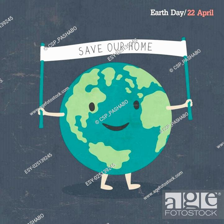 Stock Vector: Earth Day Poster. Earth Cartoon Illustration. On dark grunge texture. Grunge layers easily edited.