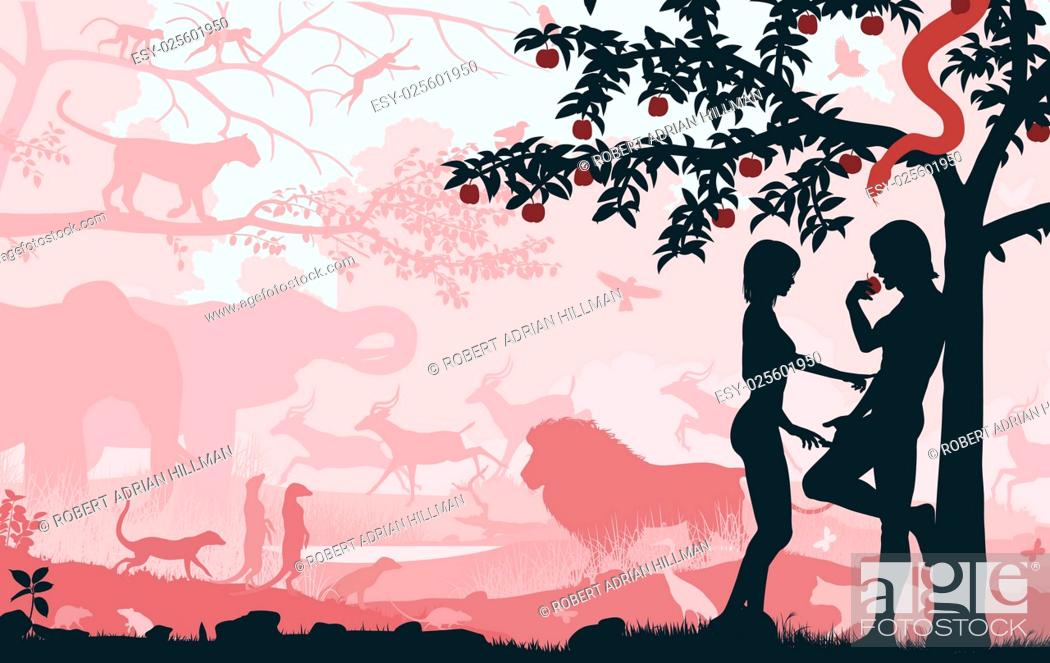Stock Vector: Editable vector silhouettes of Adam and Eve in the Garden of Eden with all figures as separate objects.