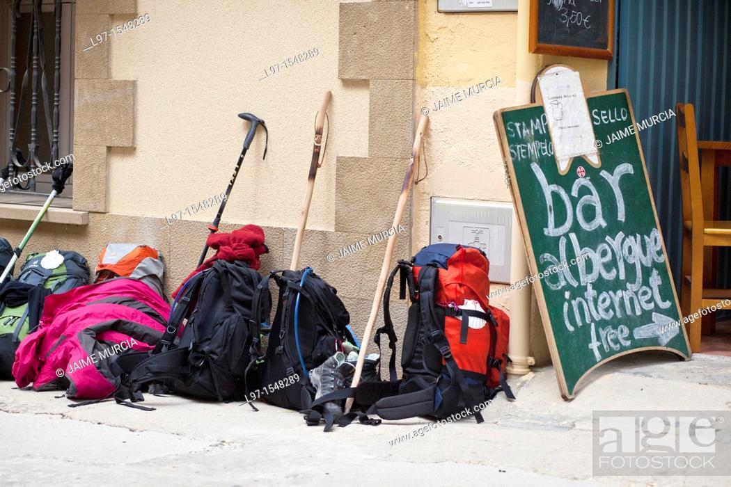 Stock Photo: Back packs outside a bar on the Camino de Santiago.