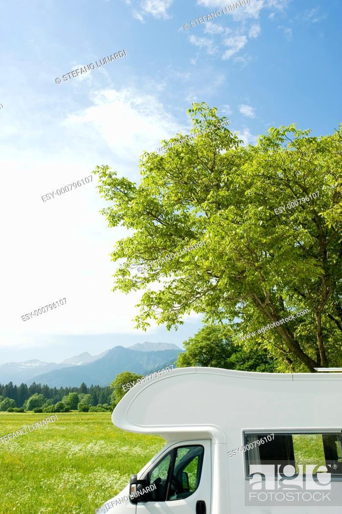 Stock Photo: Caravan in a park.