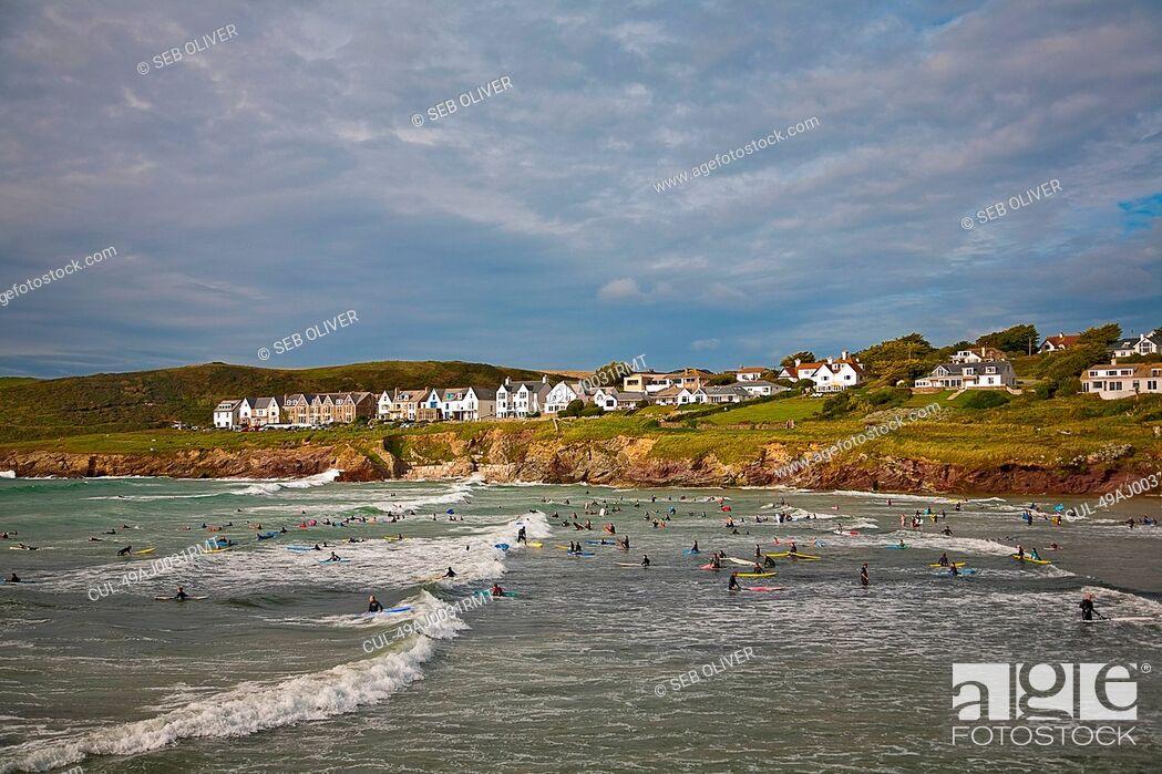 Stock Photo: Coastal town overlooking beach.
