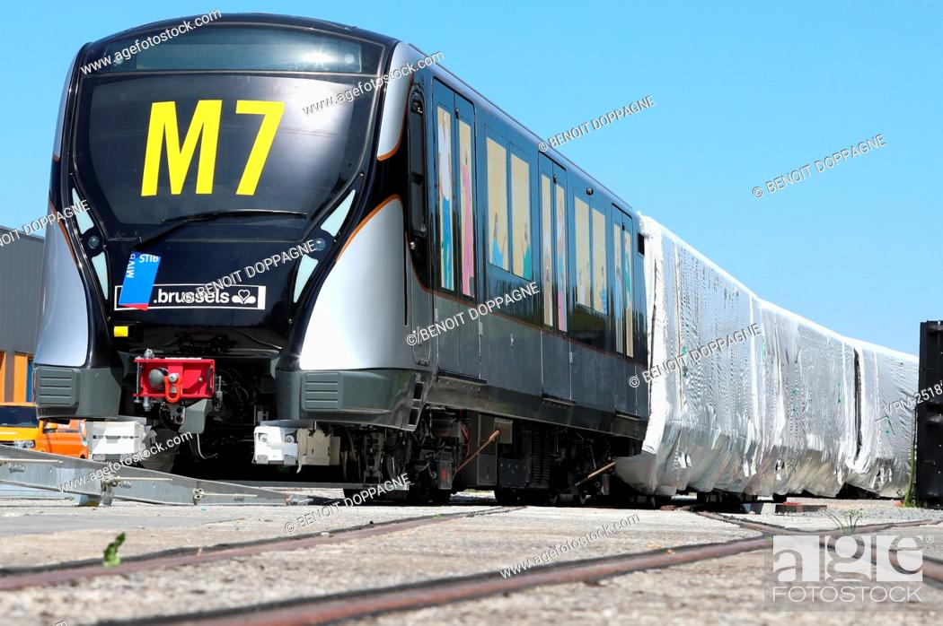 Stock Photo: Illustration shows the M7 in marge of a press conference of Brussels public transport company STIB - MIVB to present the new metro train M7.
