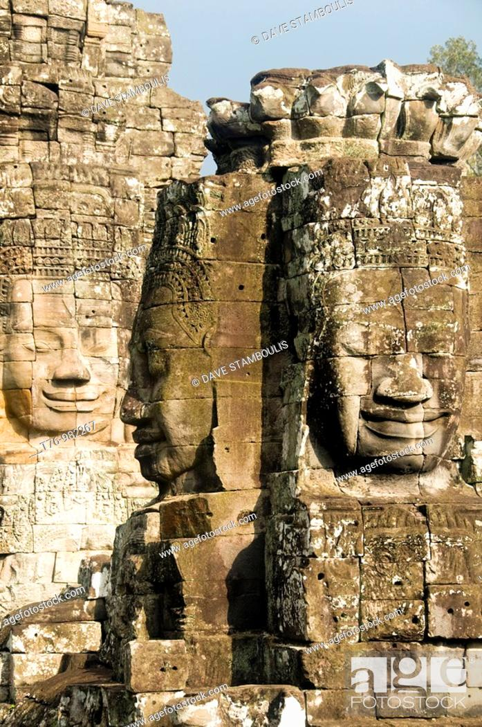 Stock Photo: stone faces in the Bayon Temple at Angkor Wat in Cambodia.