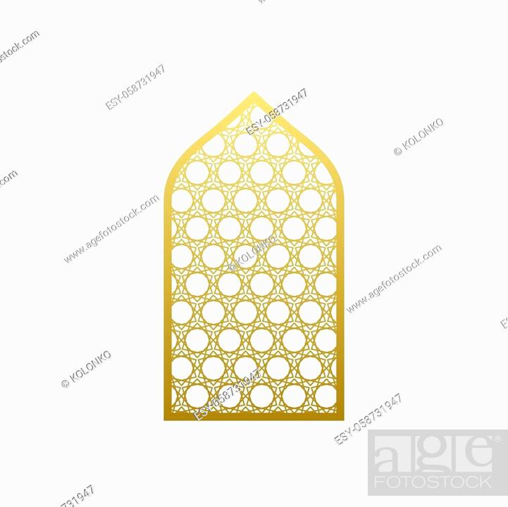 Stock Vector: Arab vector window door pattern. Arabian islamic mosque ramadan ornament style.