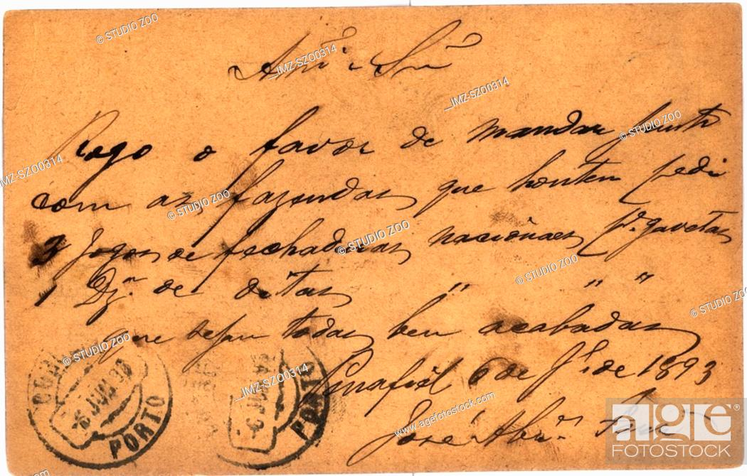 Stock Photo: Vintage postcard with script writing, Portuguese.