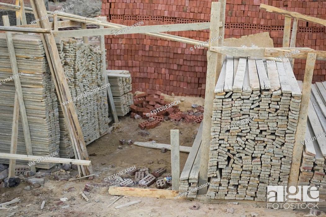 Stock Photo: Concrete Block, Construction Site, Day, Dust.