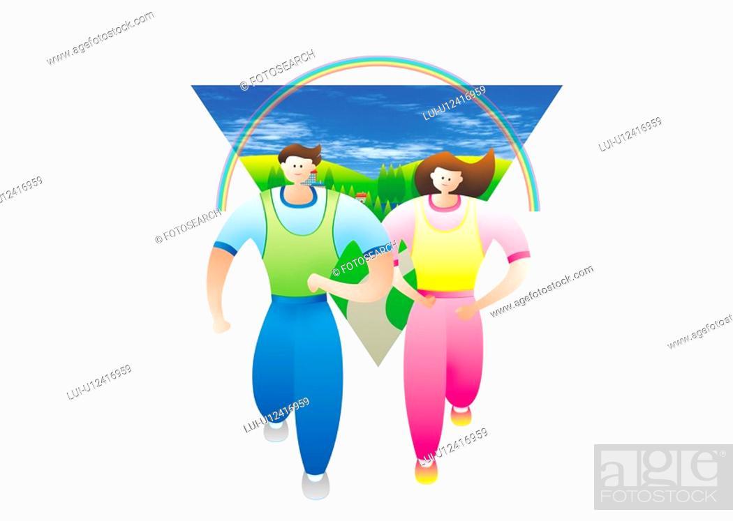 Stock Photo: Couple Jogging.