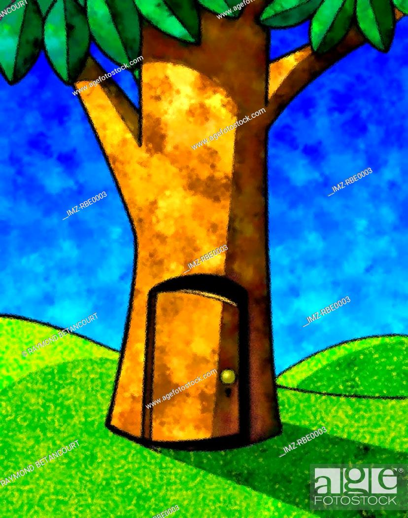 Stock Photo: A drawing of a tree with doorway.