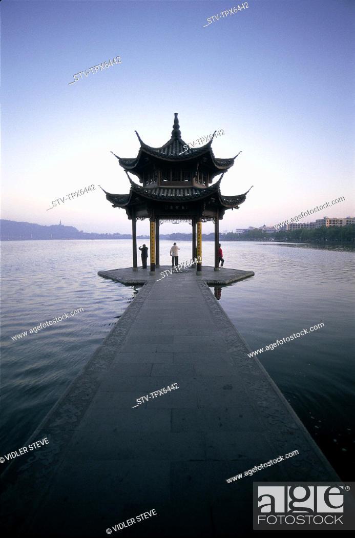 Stock Photo: Architecture, Asia, China, Chinese, Exercising, Hangzhou, Holiday, Lake, Landmark, Moody, Pagoda, People, Province, Temple, Tour.