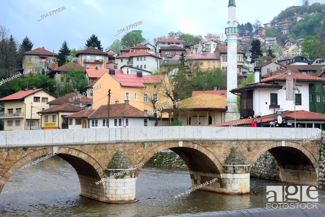Stock Photo: Miljacka river. Seher-Cehajina bridge. Sarajevo, Bosnia and Herzegovina.
