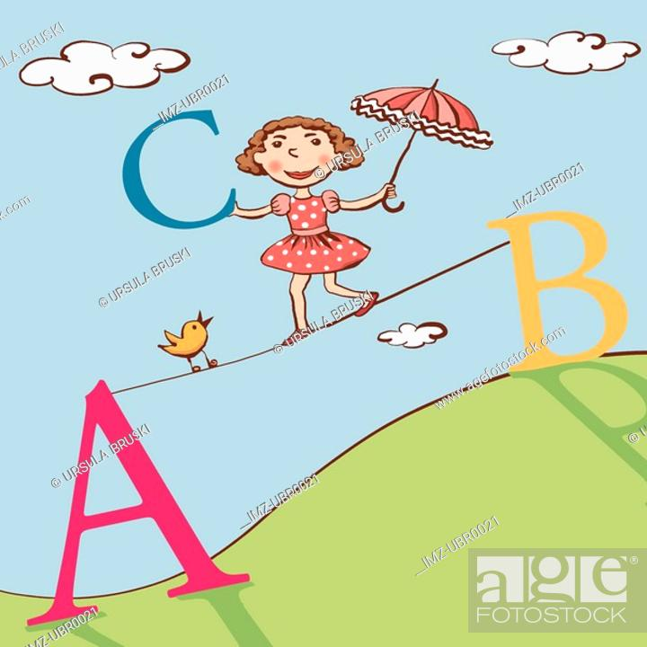 Stock Photo: A young girl walking across a tightrope with large letters.