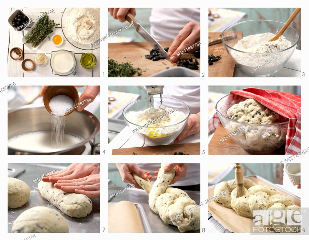 Stock Photo: How to prepare a savoury sesame seed yeast plait with olives and rosemary.