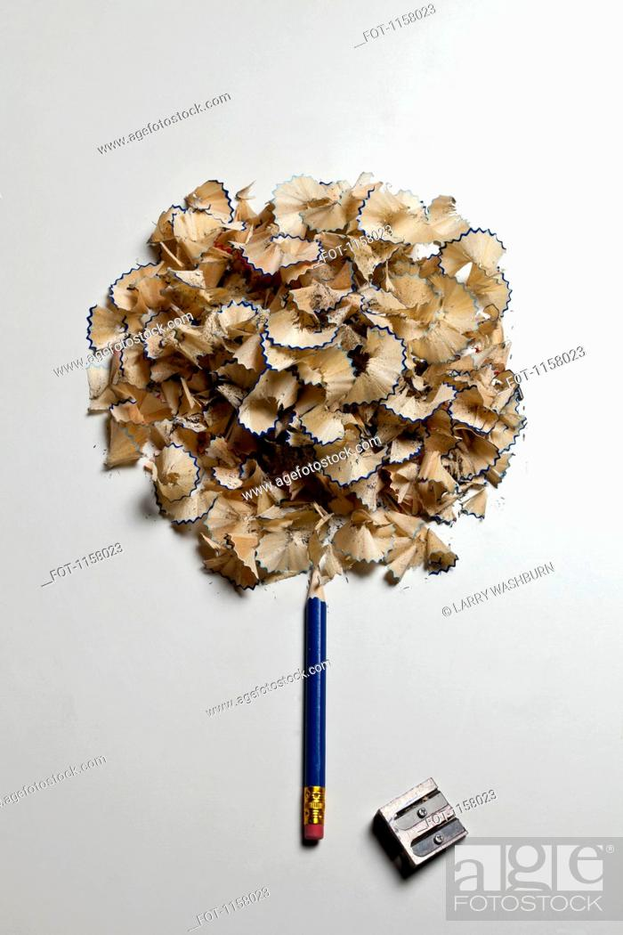Stock Photo: A pencil and pencil shavings made to look like a tree.