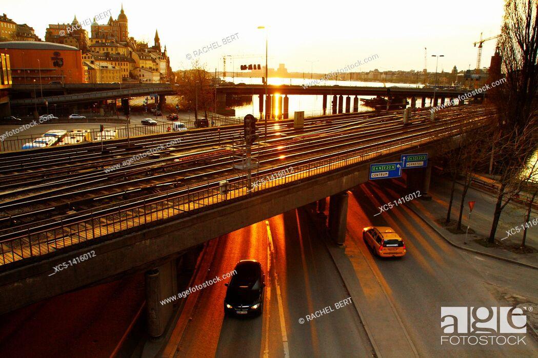 Stock Photo: Railway and Highway, Stockholm, Sweden, Scandinavia, Europe.