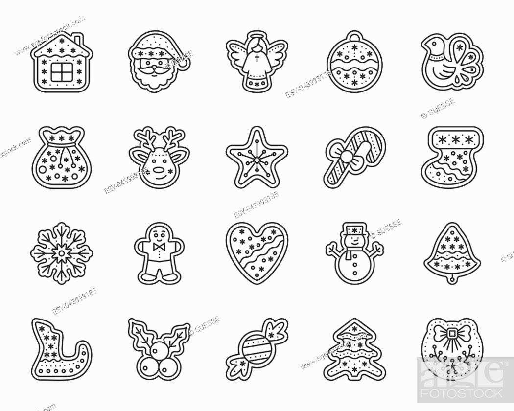 Stock Vector: Christmas gingerbread thin line icon set. Outline sign kit of xmas cookie. Sweet food linear icons includes mistletoe, bird star.