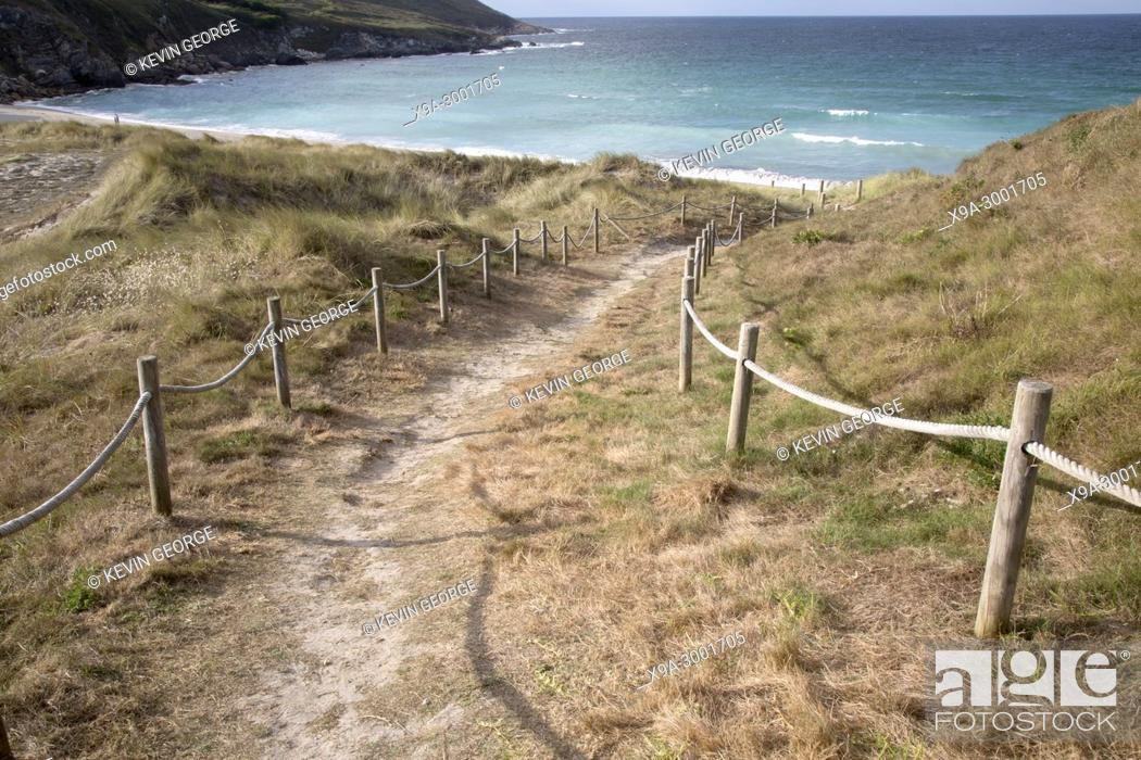 Stock Photo: Footpath to Beach at Malpica; Fisterra; Costa de la Muerte; Galicia; Spain.