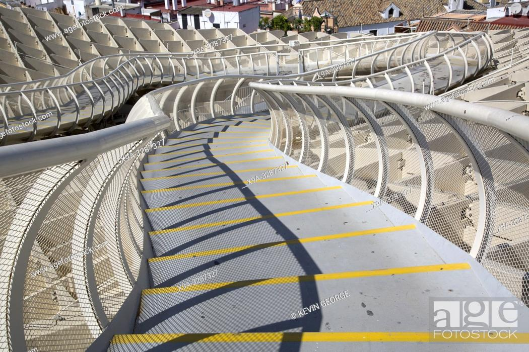 Stock Photo: Roof of Setas - Metropol Parasol; Seville; Spain.