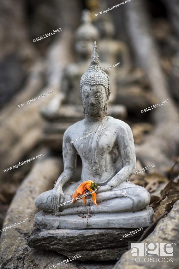 Stock Photo: Stone carved miniature Buddha figure at the Wat Si Sawai temple, Sukhothai Historical site, Sukhothai, Thailand.
