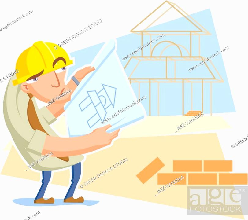 Stock Photo: An architect examining a blueprint of a building.