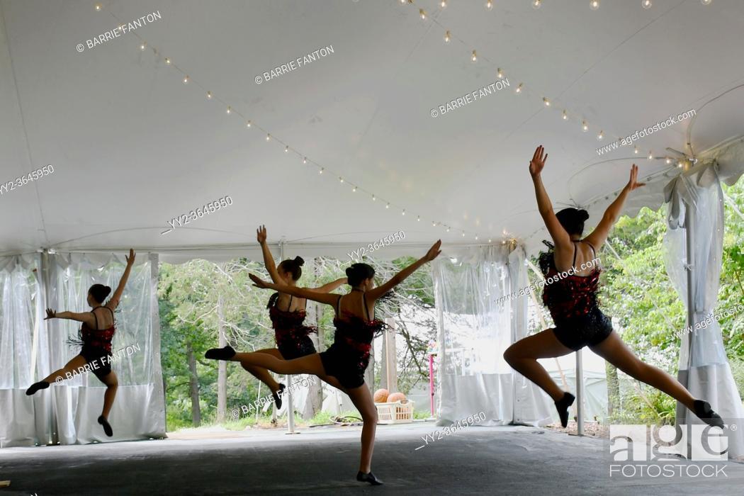 Stock Photo: Dancers Performing During Dance Recital, Tent Venue Due to Corona Virus, Geneseo, New York, USA.