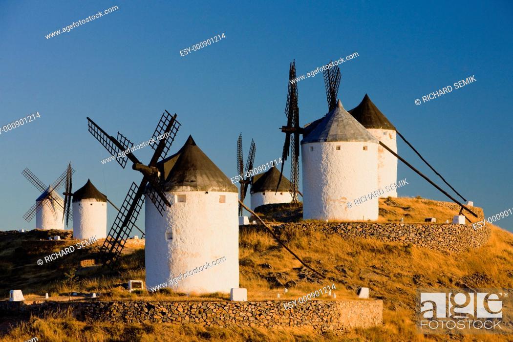 Stock Photo: windmills, Consuegra, Castile-La Mancha, Spain.