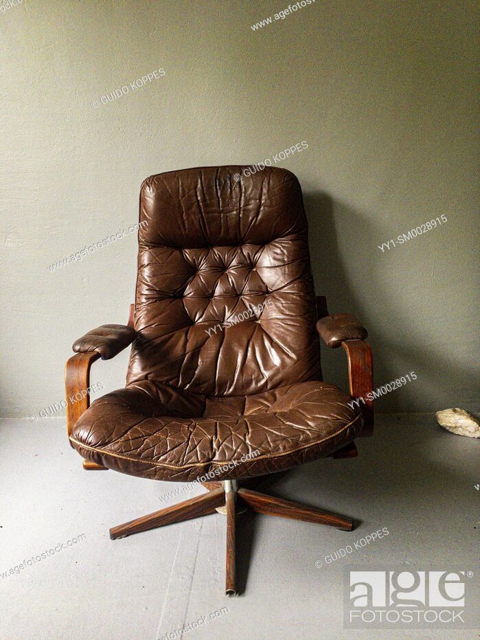 Stock Photo: Tilburg, Netherlands. Vintage Leather Chair, made in the 1970's.