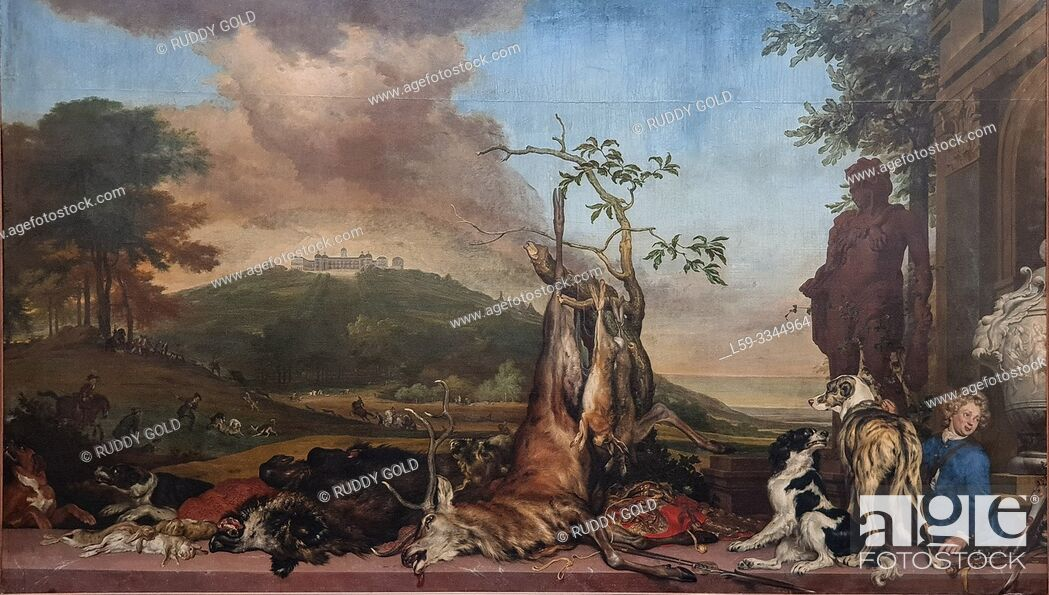 Imagen: 'Still Life with Hunting Trophies in a Landscape with Bensberg Palace', 1712, by Jan Weenix (1640/41-1719).