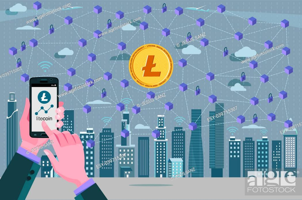 Stock Vector: Modern City, Litecoin, cryptocurrency symbol, Blockchain transaction network with Litecoin currency. In the foreground hands with a mobile phone with the.