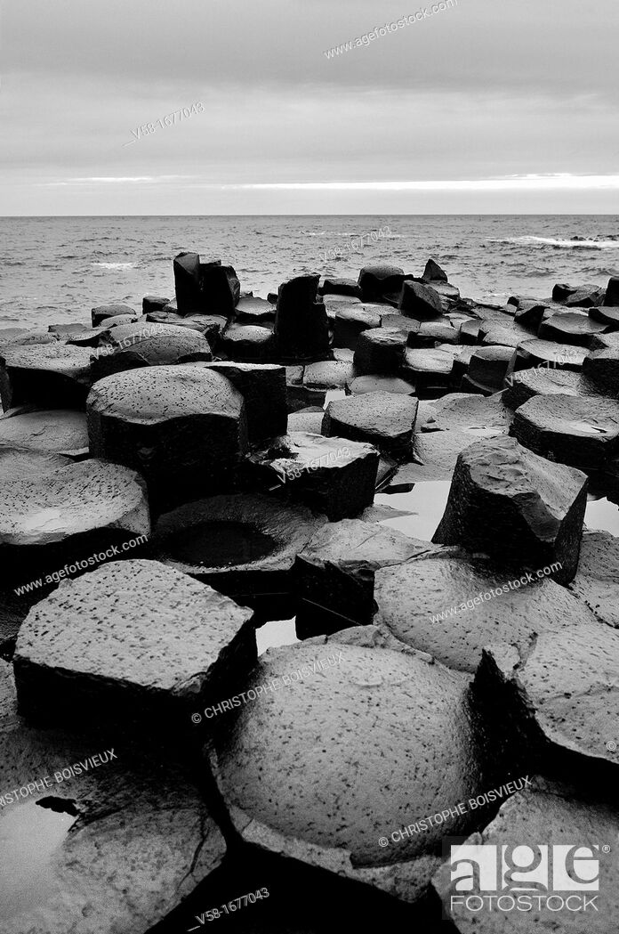 Stock Photo: United Kingdom, Northern Ireland, Antrim coast, Giant's Causeway  Legend has it that the Irish giant Fionn mac Cumhaill Finn McCool built the causeway to walk.