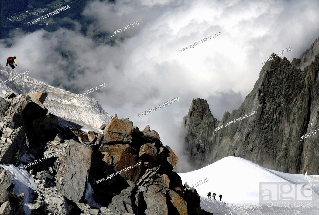 Stock Photo: High Alps close to Mt Blanc, view from Aquille du Midi, France.