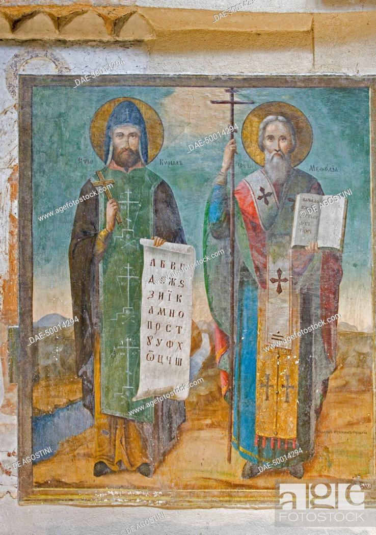Saints cyril and methodius fresco monastery dedicated to st john stock photo saints cyril and methodius fresco monastery dedicated to st john of rila also known as st ivan founded in the 10th century chiprovtzi publicscrutiny Image collections