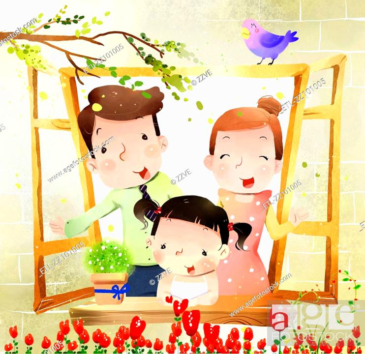 Stock Photo: portrait of family with one child at window.