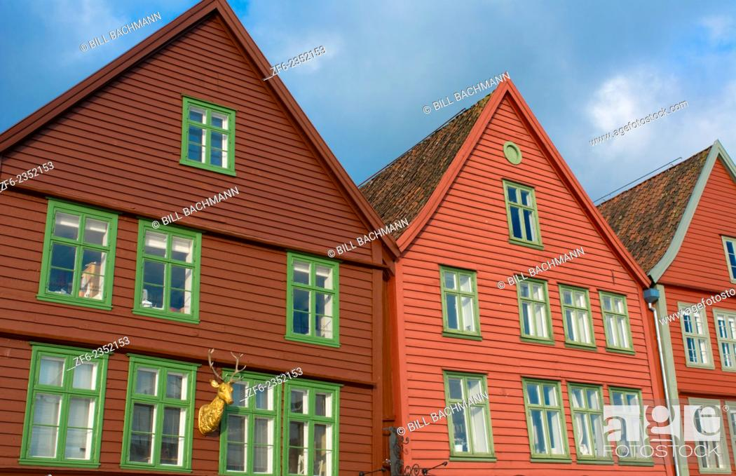 Stock Photo: Bergen Norway Bryggen old town with famous wooden leaning houses landmarks for tourists in BRYGGEN area scenic color.