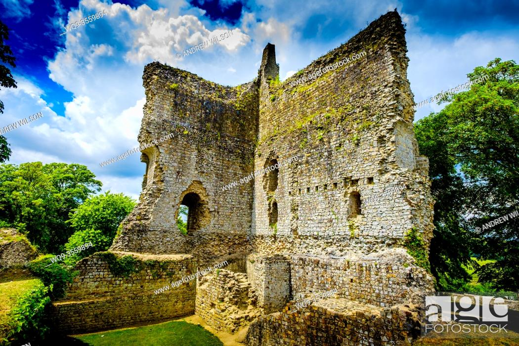 Stock Photo: The ruined keep of the old castle at Domfront, Normandy, France.