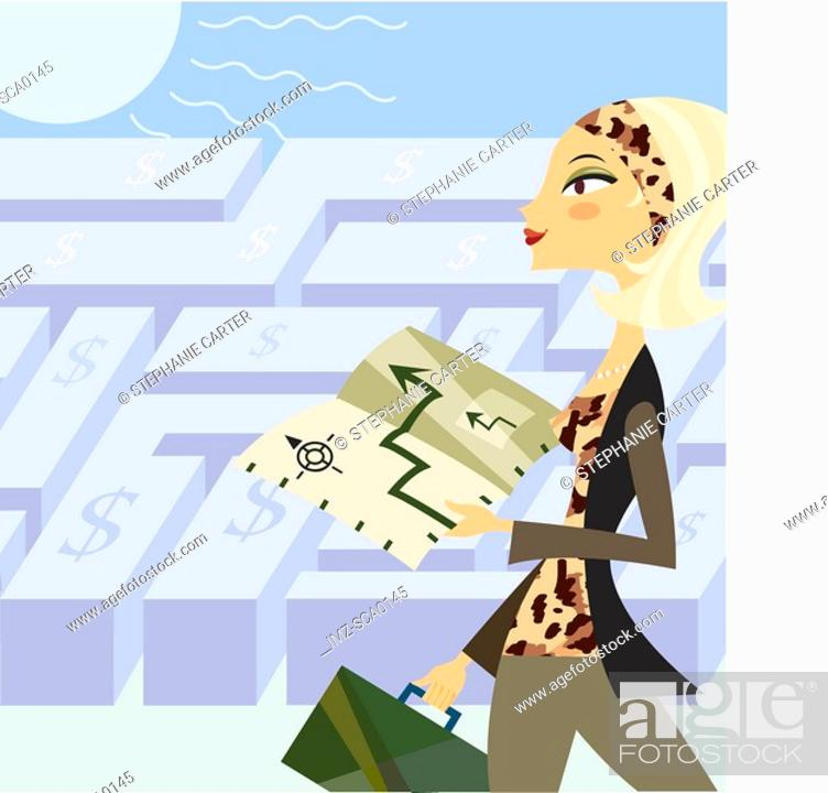 Stock Photo: A woman with a financial plan has the directions out of the maze.