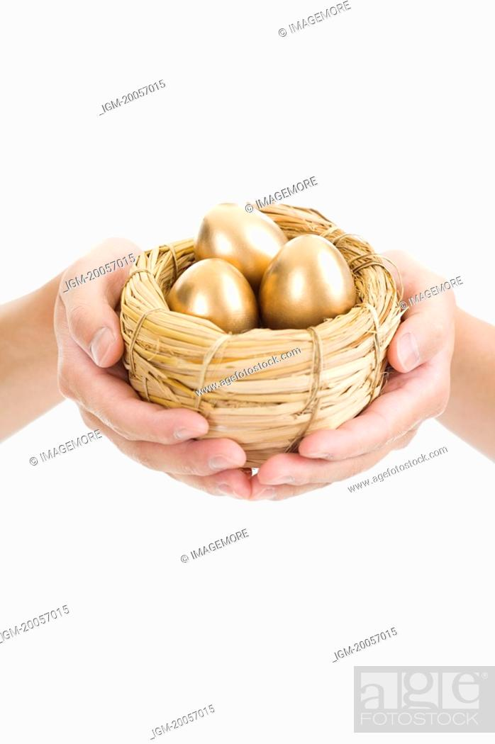 Stock Photo: Human hands holding a nest of golden eggs.