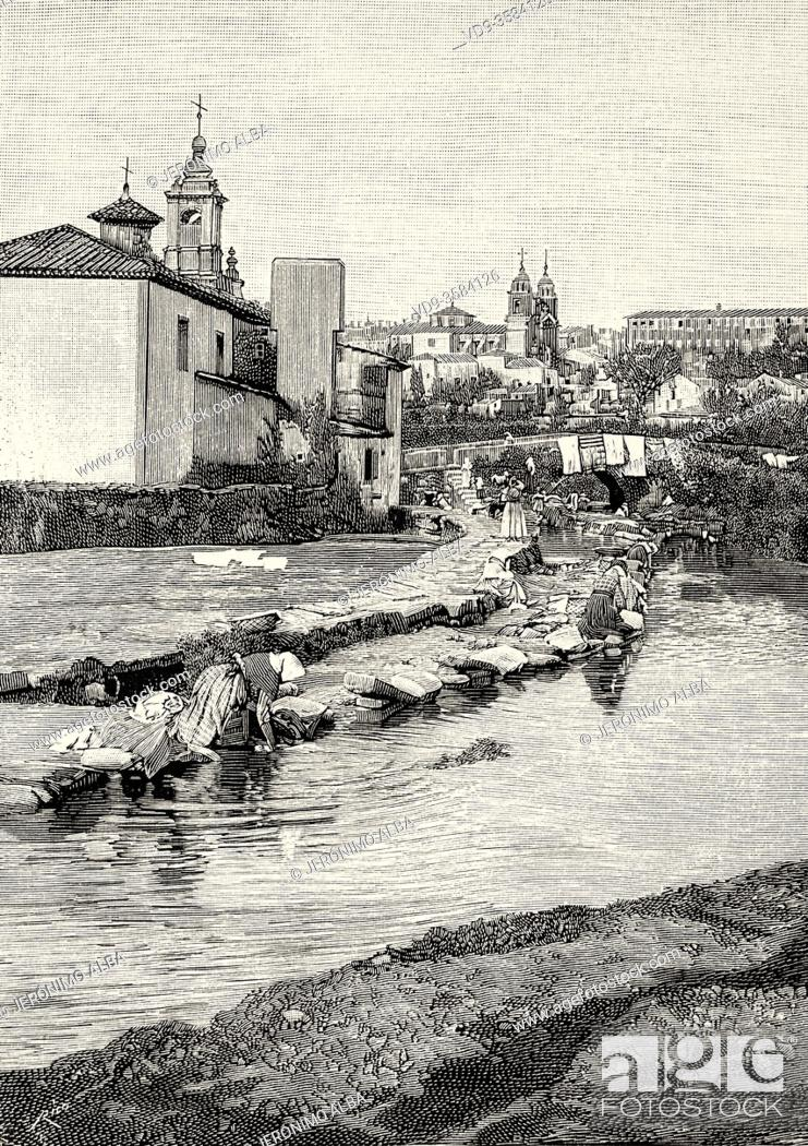Photo de stock: View of the city of Santiago de Compostela at the end of the 19th century, Galicia. Spain. Old XIX century engraved illustration from La Ilustracion Española y.
