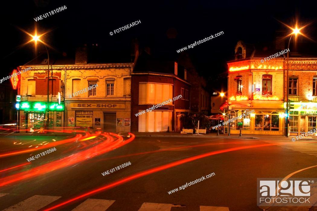 Stock Photo: dark, gloomy, lit, street, outdoors, way.