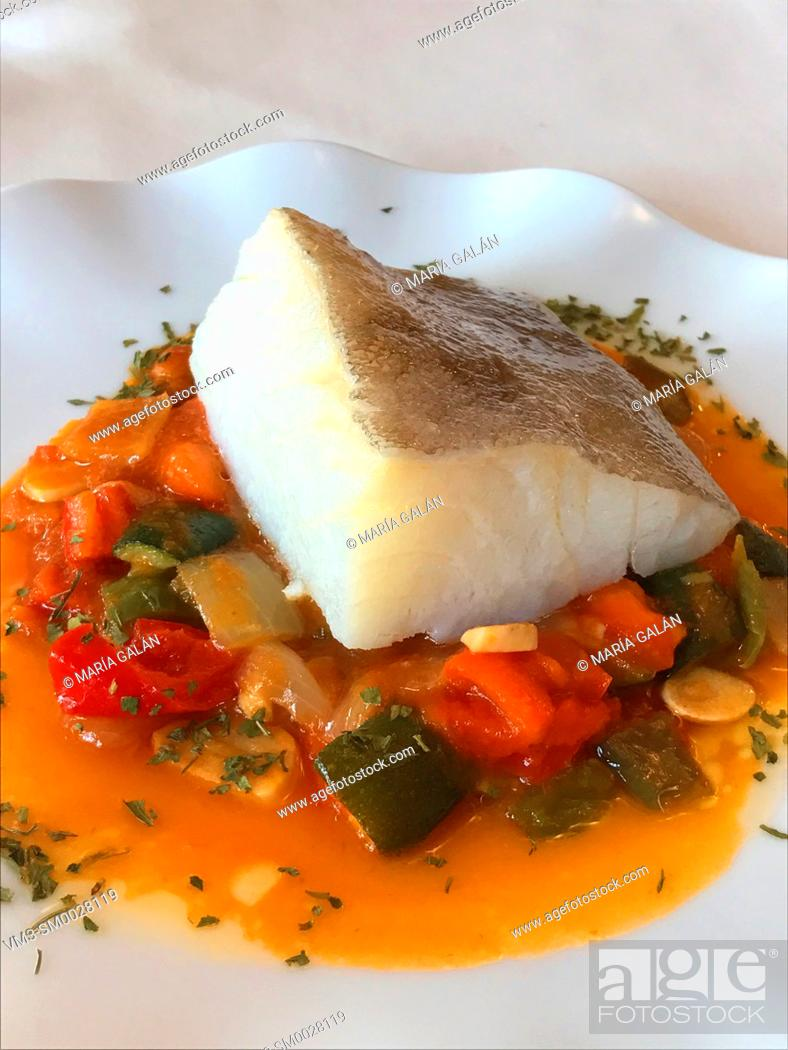 Stock Photo: Cod loin with pisto. Spain.