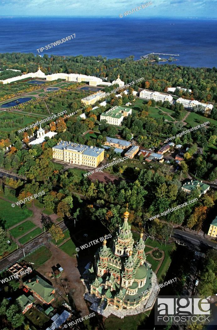 Stock Photo: Russia, Saint Petersburg, Peterhof palace, aerial view.
