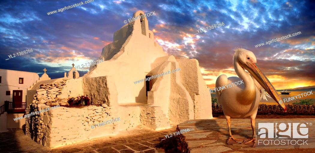 Stock Photo: Paraportiani Greek Orthodox churches of Mykanos Chora with the Pelican town mascot Petros, Cyclades Islands, Greece.