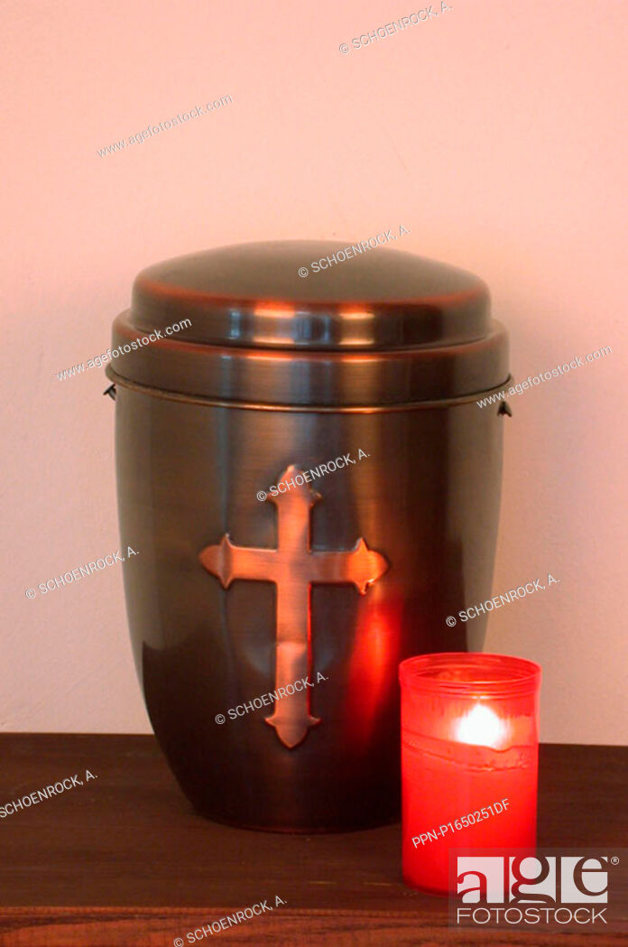 Stock Photo: No People, Still Life, Loneliness, Indoors, Family, Alone, Grief, Sorrow, Metal, Candle, Religion, Souvenir, Death, Photo, Image, Gold, Christianity, Copper, Custom, Longing, Funeral, Urn, Christian Cross, Cross