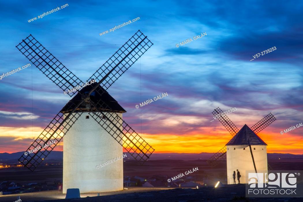 Stock Photo: Windmills at sunset. Campo de Criptana, Ciudad Real province, Castilla La Mancha, Spain.