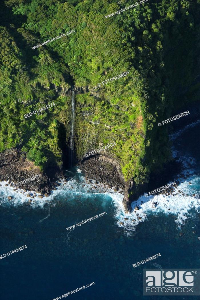 Stock Photo: Aerial view of Maui, Hawaii coast with waterfall.