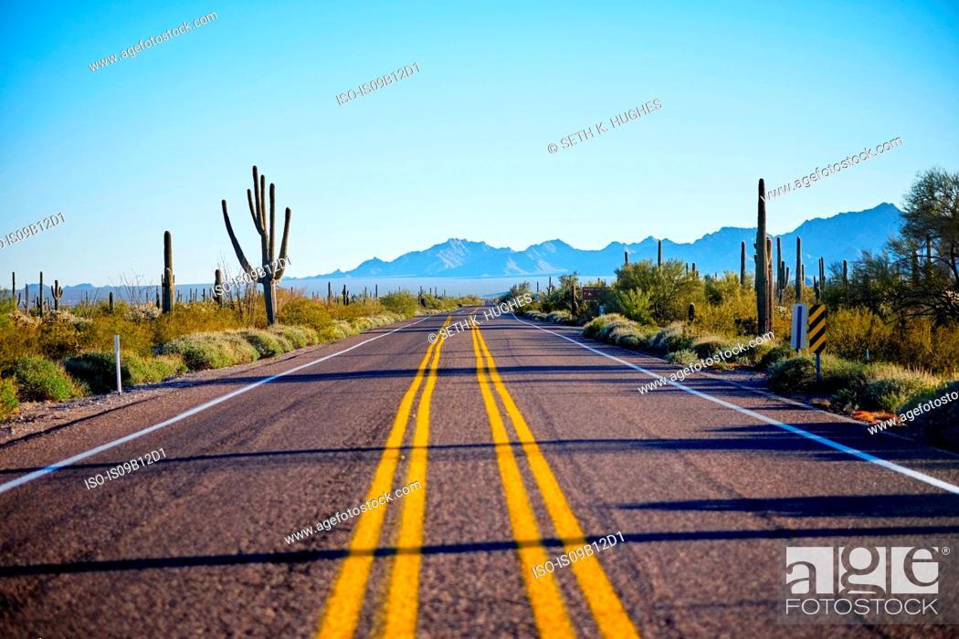 Stock Photo: Desert highway, Organ Pipe Cactus National Monument, Arizona, USA.